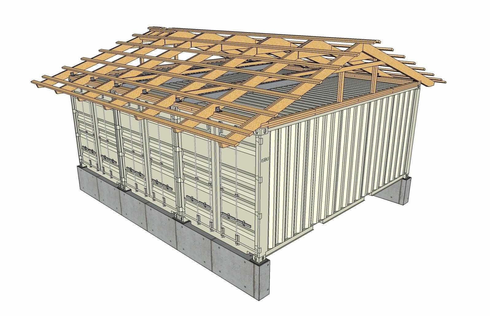 Устройство крыши дома из контейнера