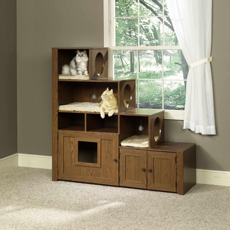 Встроенные в мебель домики для кошек