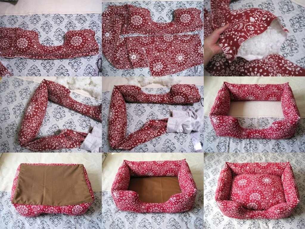 Красный текстильный лежак для кошки