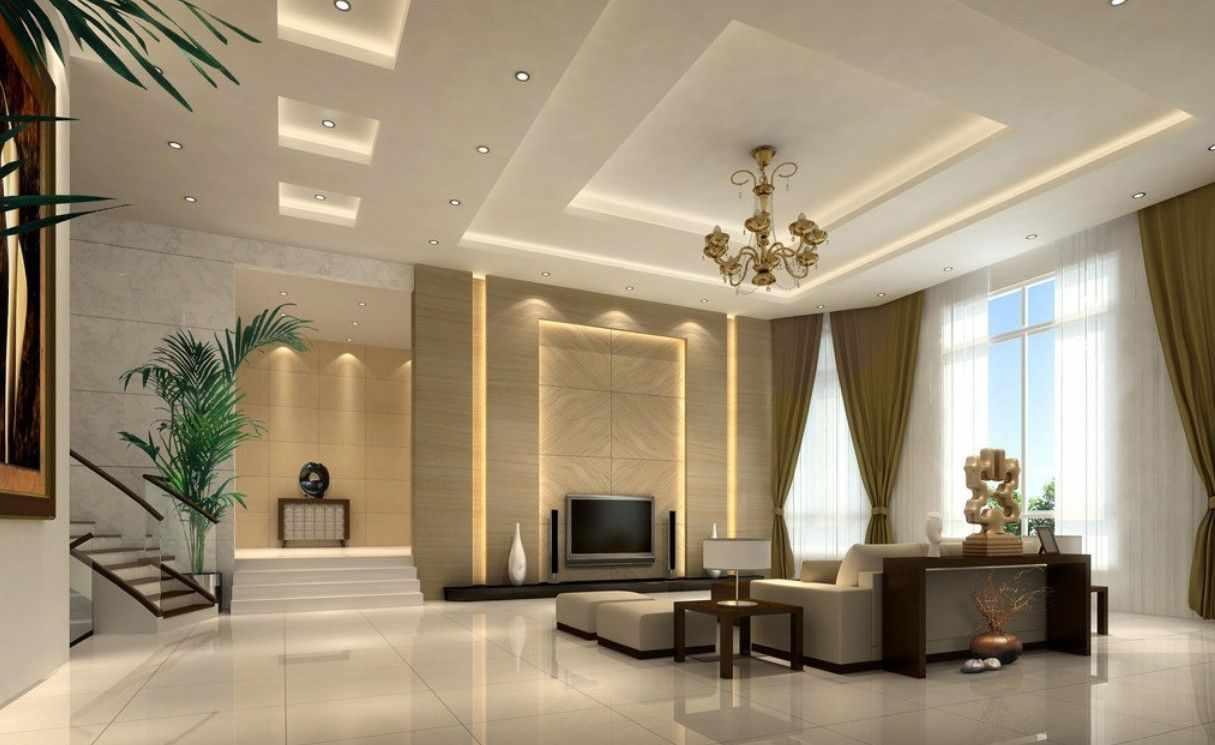 Двухуровневый потолок в интерьере в классическом стиле