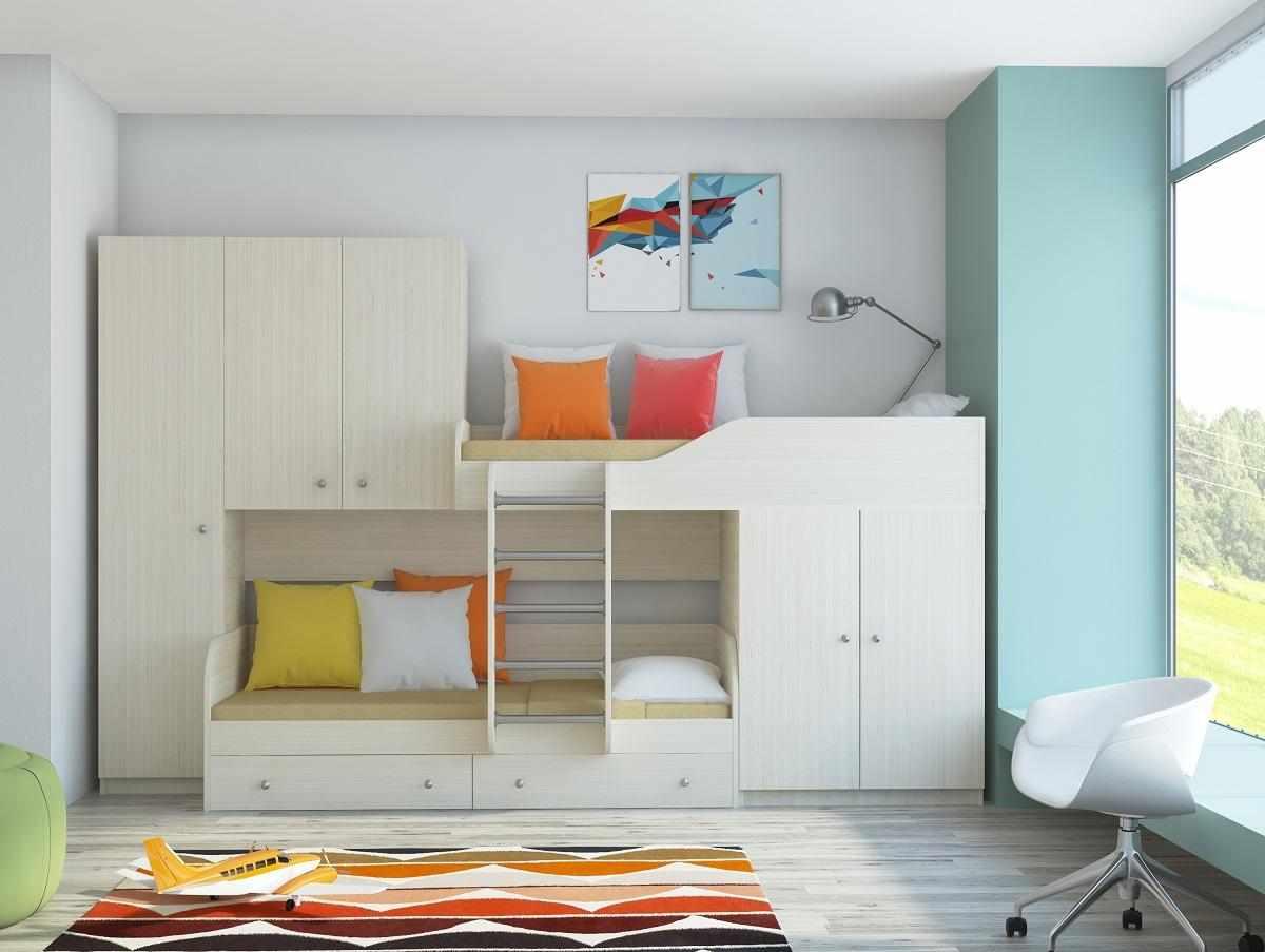 Детская мебель со встроенной двухъярусной кроватью