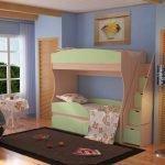 Двухъярусная кровать с ящиками для хранения в ступенях