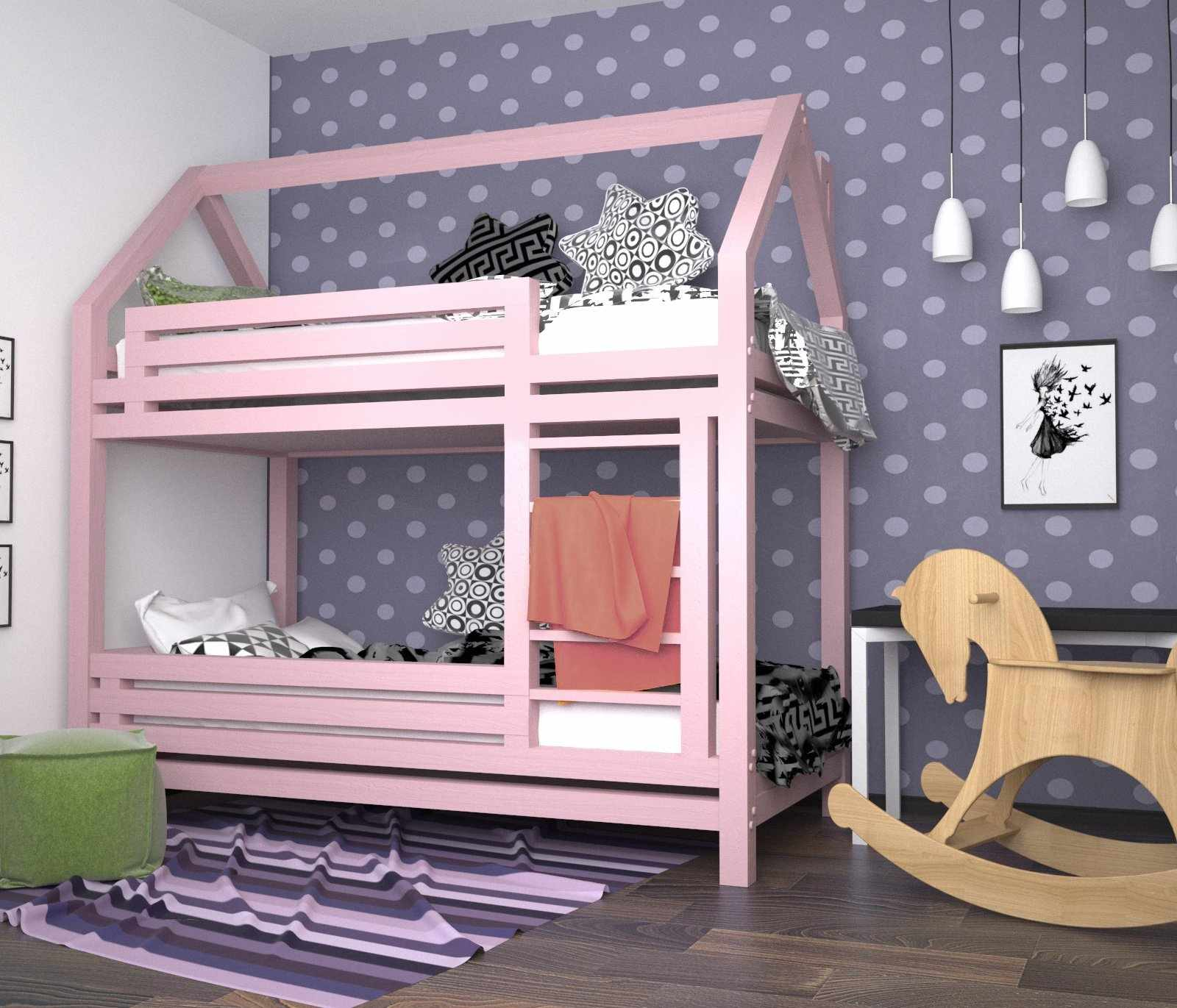 Розовая двухъярусная кровать в детской для девочки