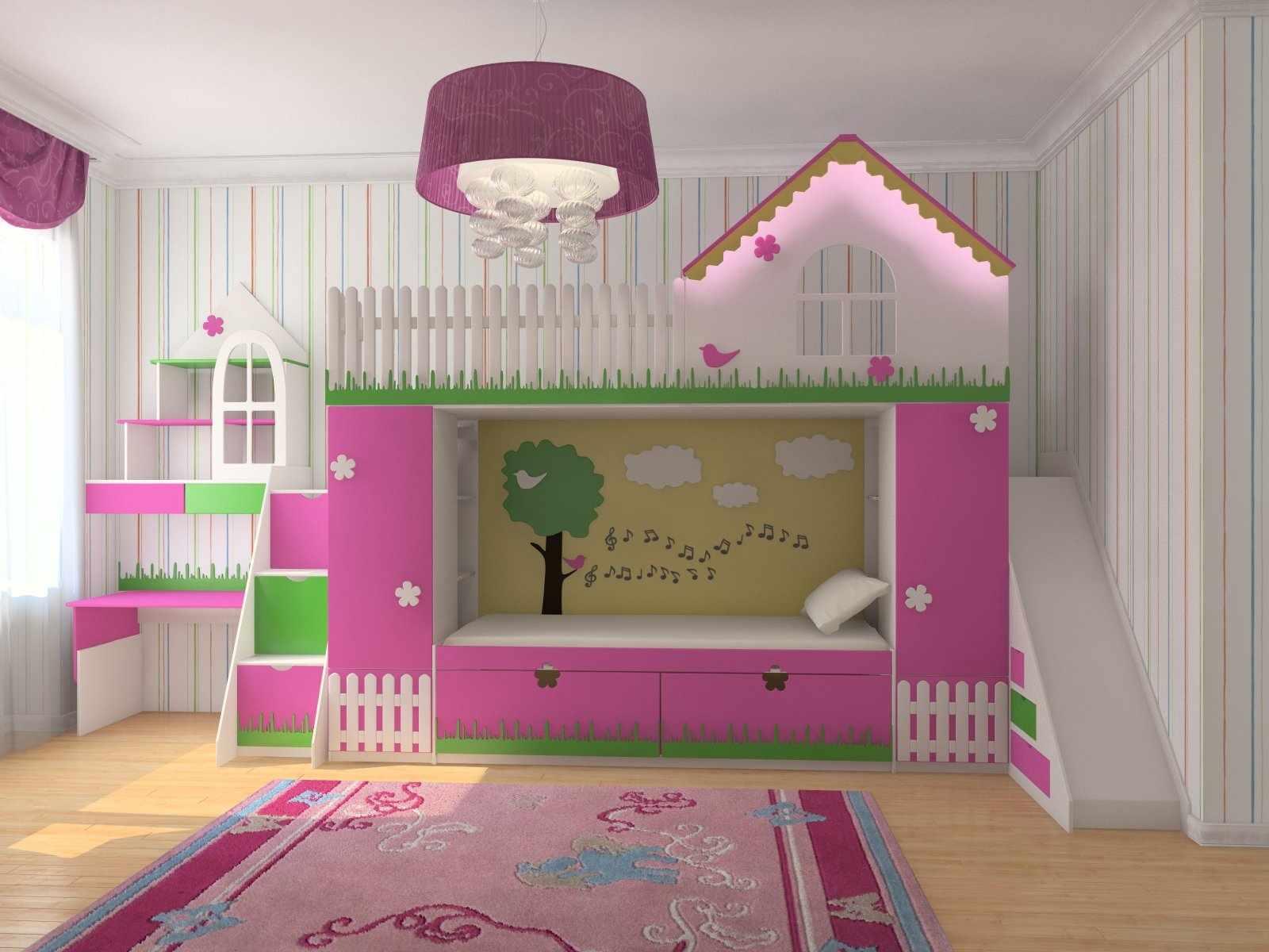 Двухъярусная кровать в романтическом стиле