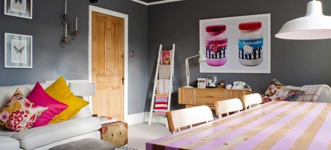 Интерьер гостиной со столовой в стиле эклектика