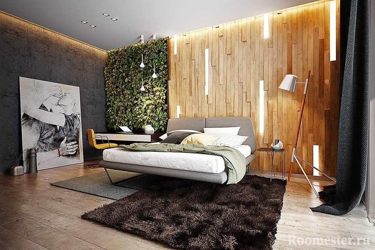 Выращивание цветов на стене в интерьере в экостиле