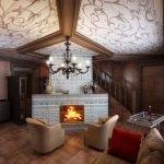 Интерьер комнаты с узорами на потолке