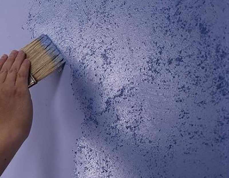 Нанесение жидкой фактурной краски