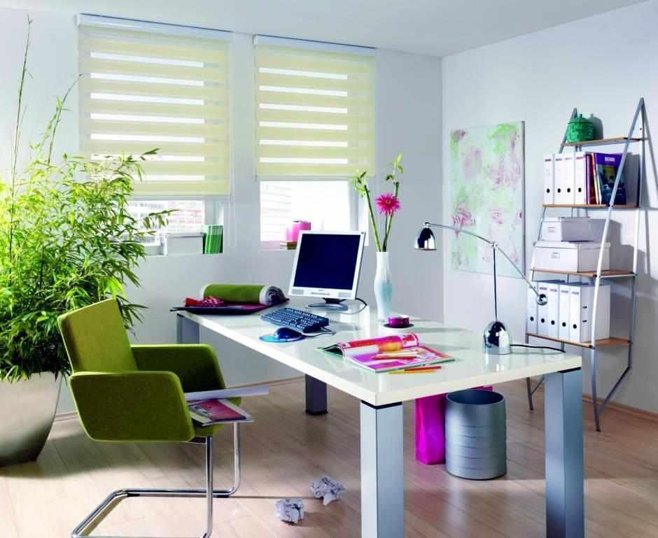 Фиолетово-зеленый рабочий кабинет