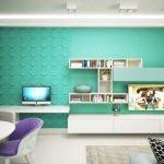Зеленые стены фиолетовая мебель