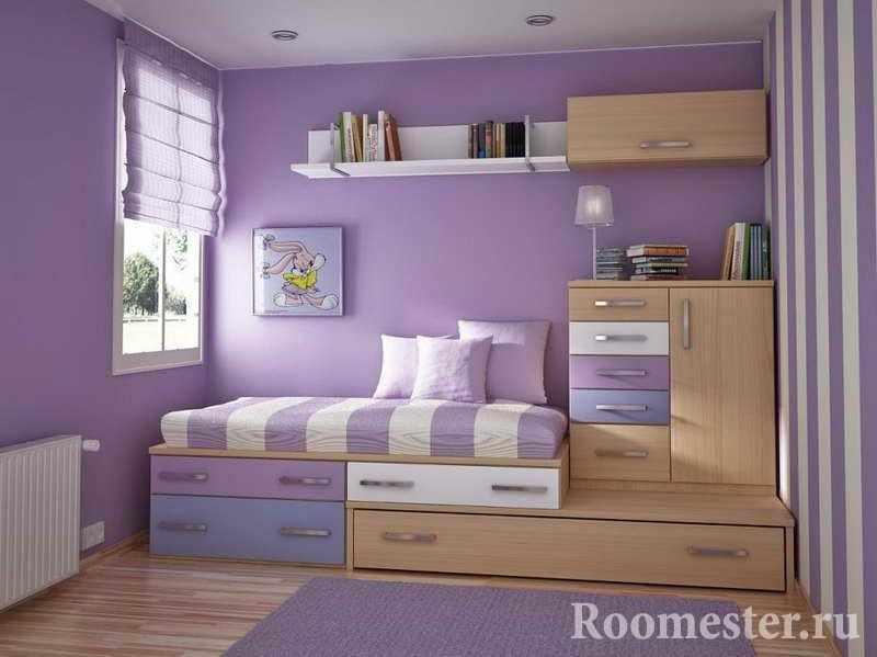 Фиолетовые тона в детской комнате