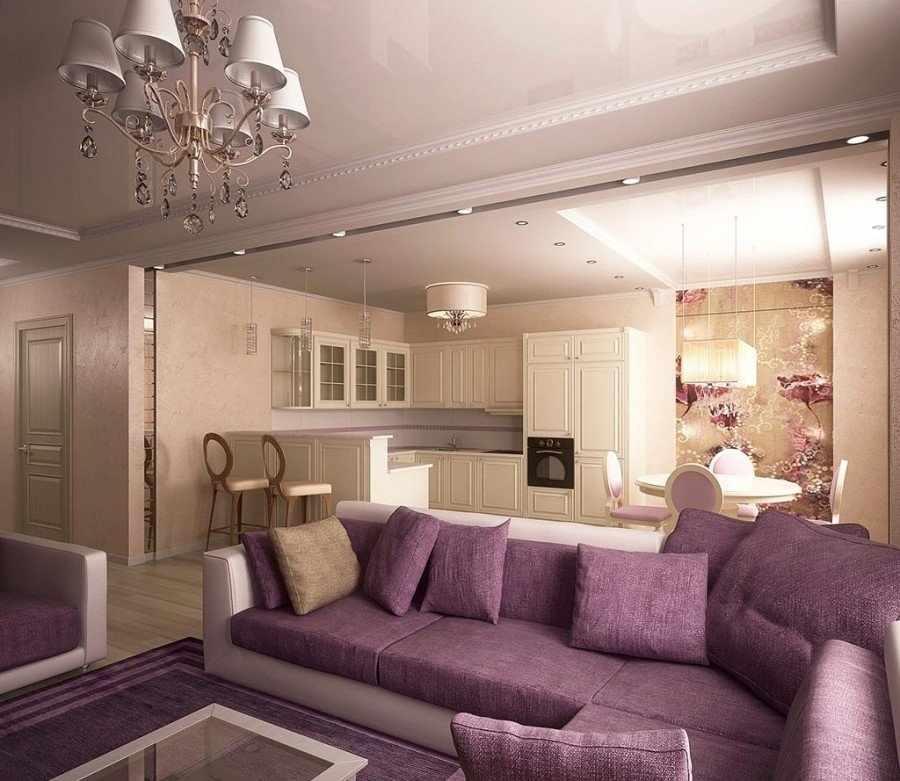 Большой диван в квартире-студии