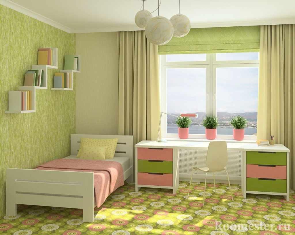 Сочетание розового и фисташкового цвета в детской комнате