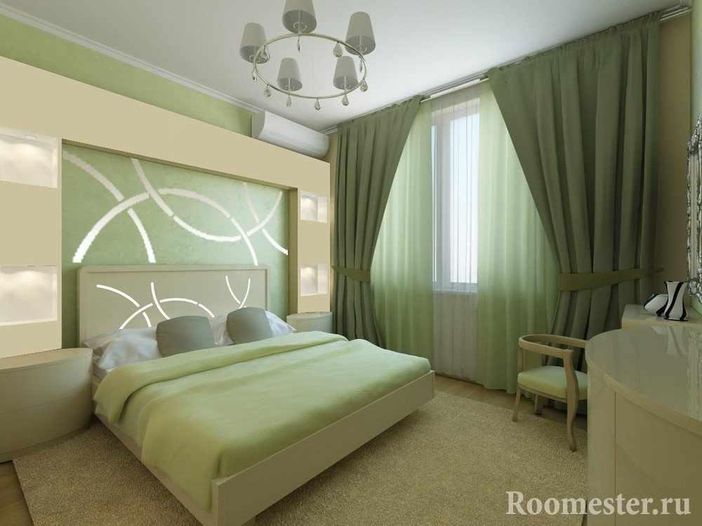 Сочетание бежевого и фисташкового цветов в спальне