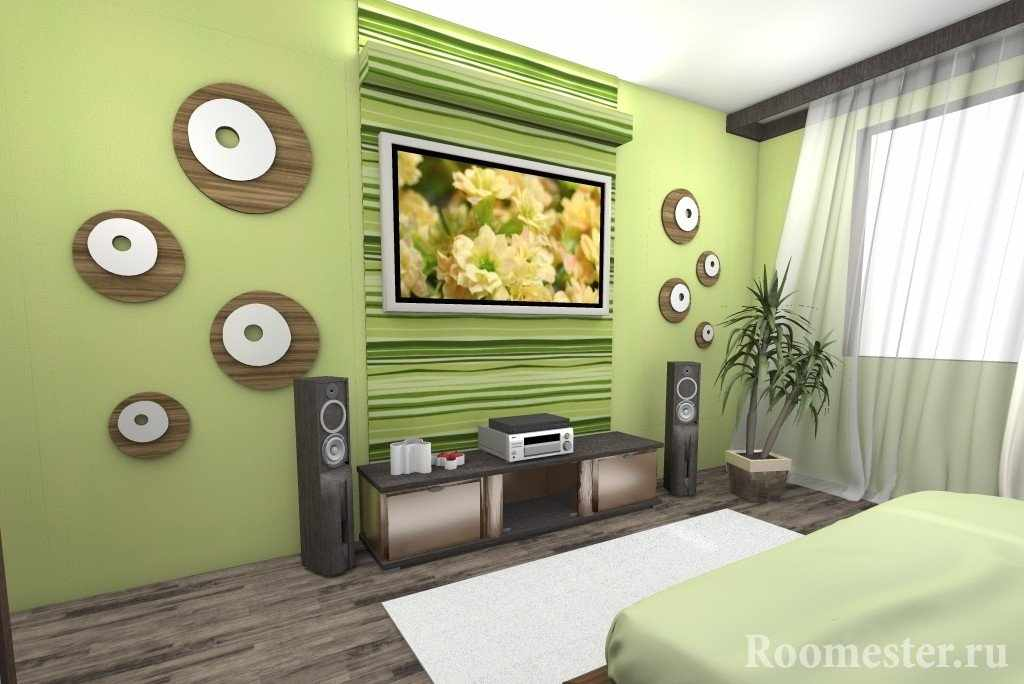 Интересный декор на стене с телевизором