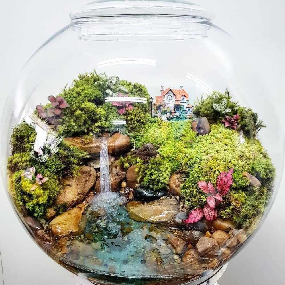 Водопад с зеленью