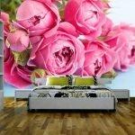 Розовые фотообои с цветами