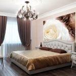 Классический декор спальни с фотообоями
