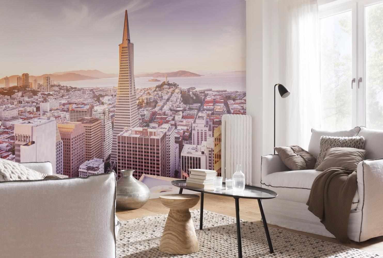Фотообои с городским видом в интерьере