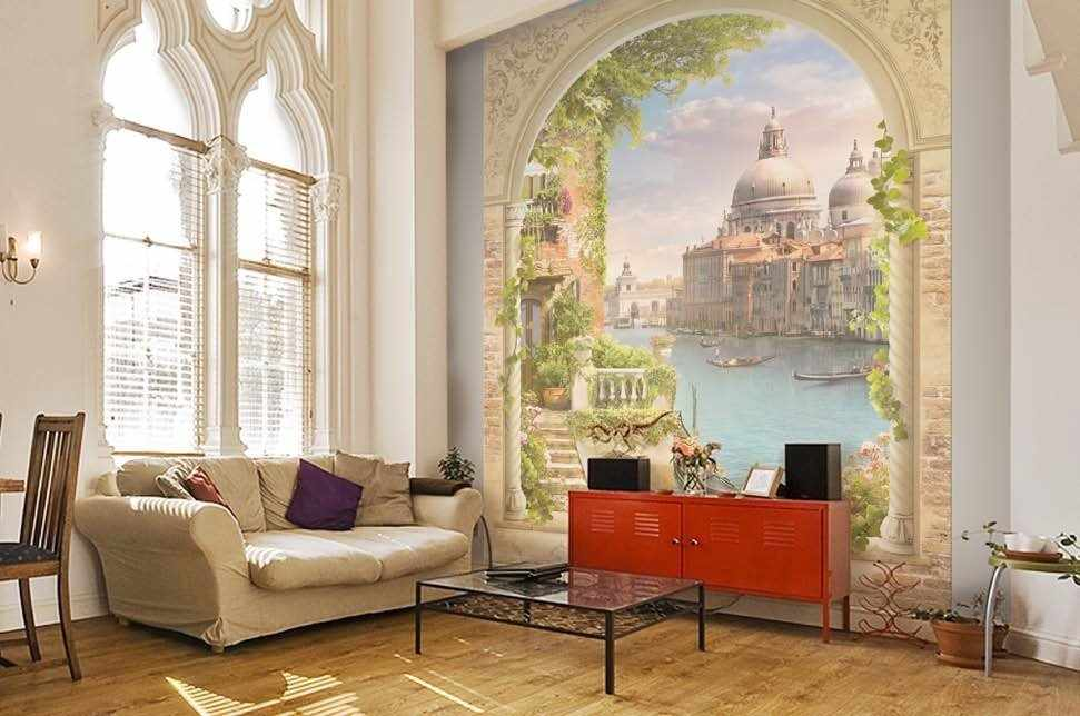 Обои-фрески в интерьере комнаты
