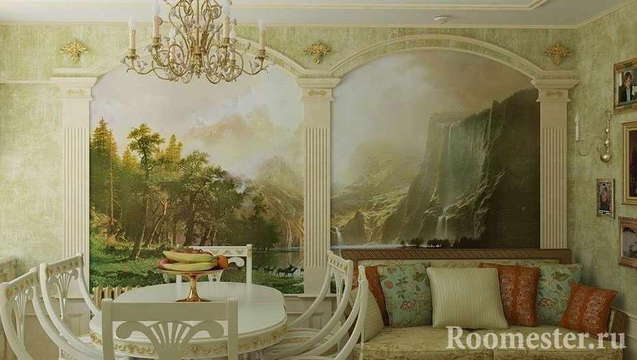 Красивый интерьер с фресками