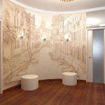 Светильники на стене с фреской в прихожей
