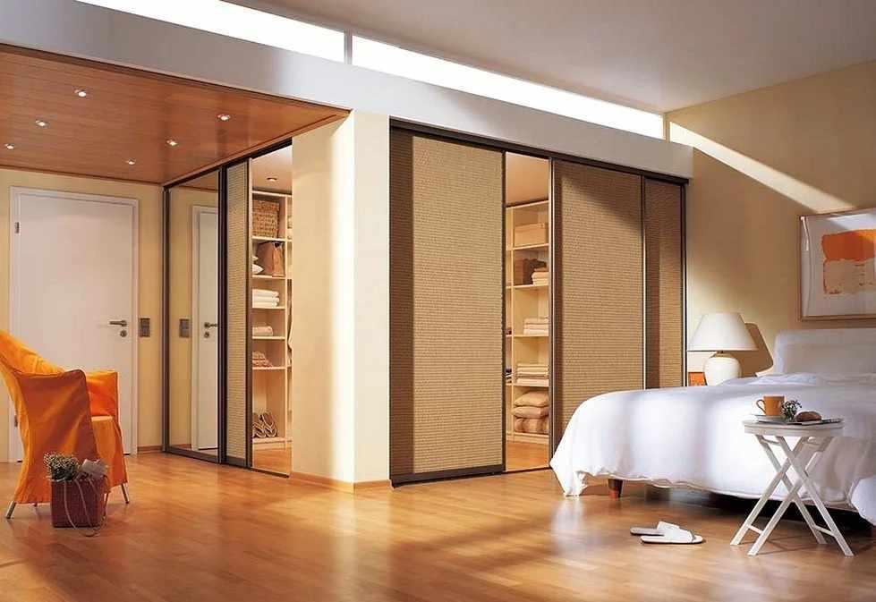 Зонирование спальни с гардеробной