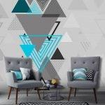 Треугольники на стене полосы на подушках