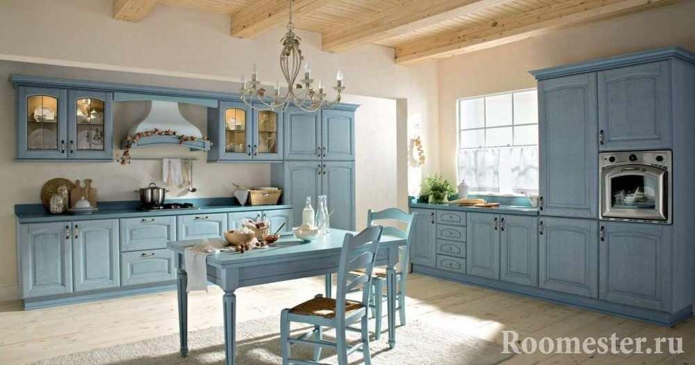 Мебель в кухне голубого цвета
