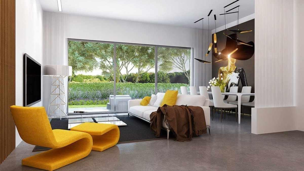 Интерьер в стиле модерн с горчичным креслом
