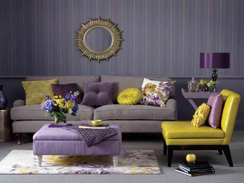 Сочетание фиолетового и горчичного цветов в интерьере