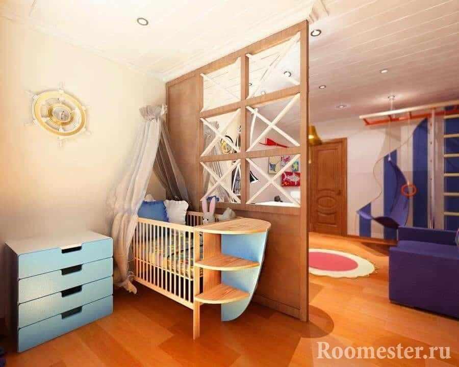 Деревянная перегородка в одной комнате гостиной и детской