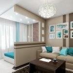 Оригинальный дизайн гостиной-спальни