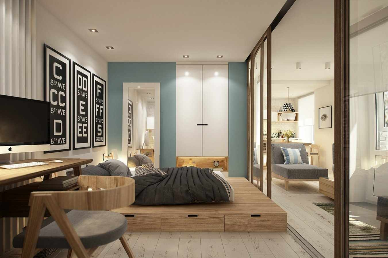 Кровать подиум в интерьере
