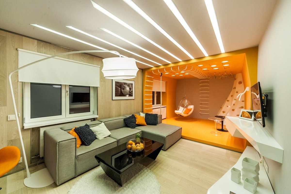 Зонирование гостиной-спальни светом