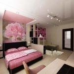 Розовый цвет в интерьере однокомнатной квартиры