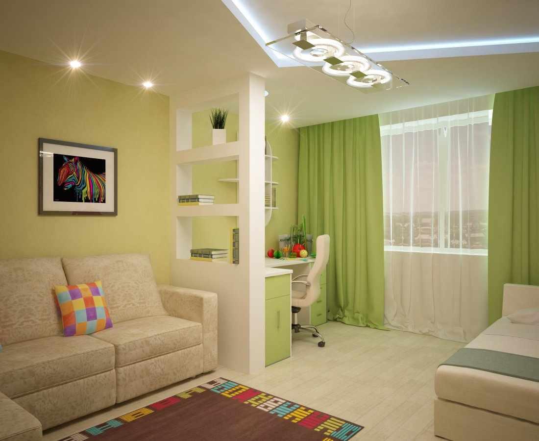 Дизайн гостиной-детской спальня