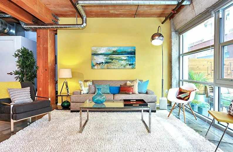 Желтая гостиная в стиле лофт