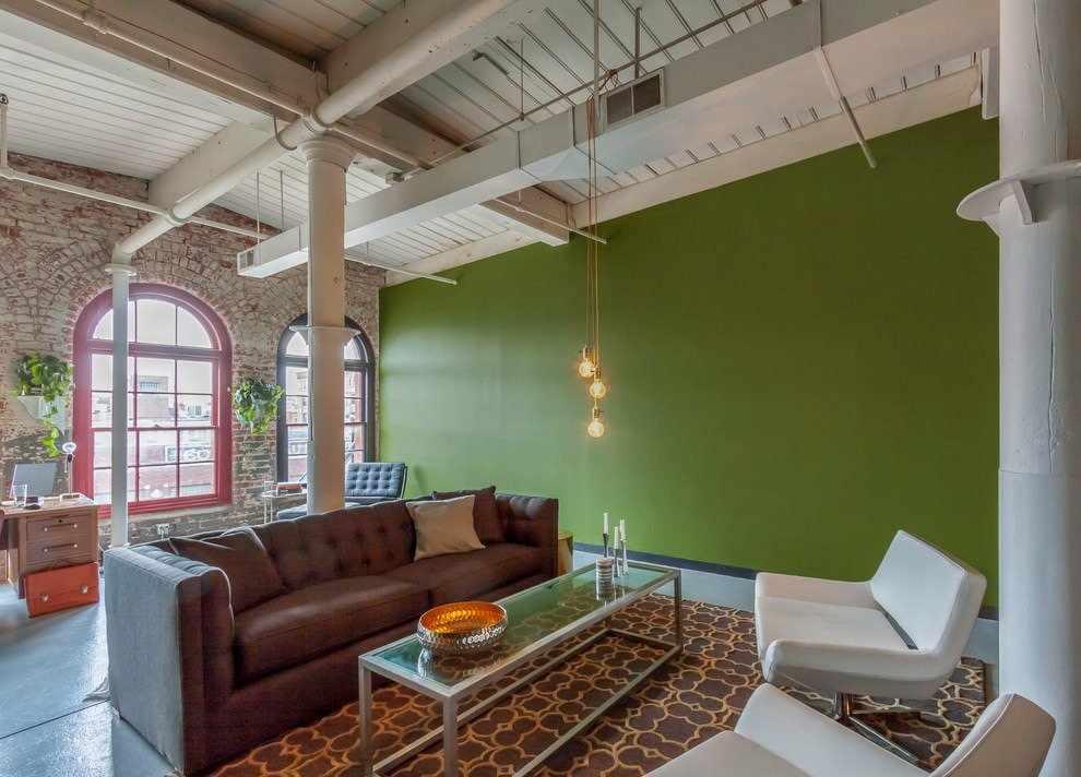 Оливковая гостиная в стиле лофт