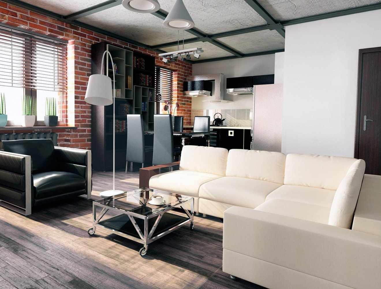 Мебель в гостиной в стиле лофт
