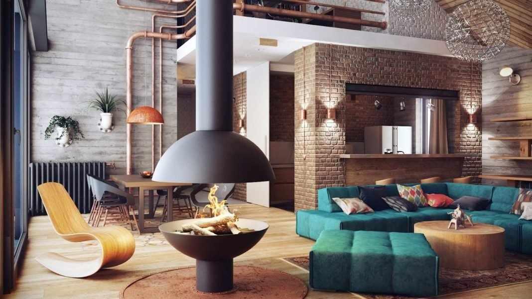 Открытая планировка - одна из черт гостиной в стиле лофт