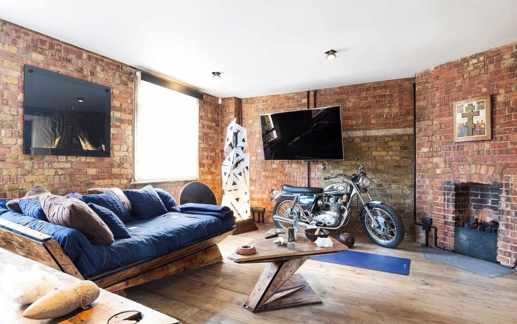 Декор в гостиной в стиле лофт