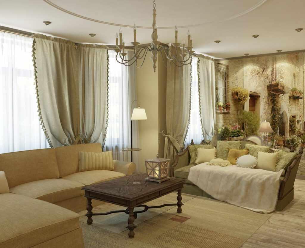 Гостиная в стиле прованс в пастельных тонах