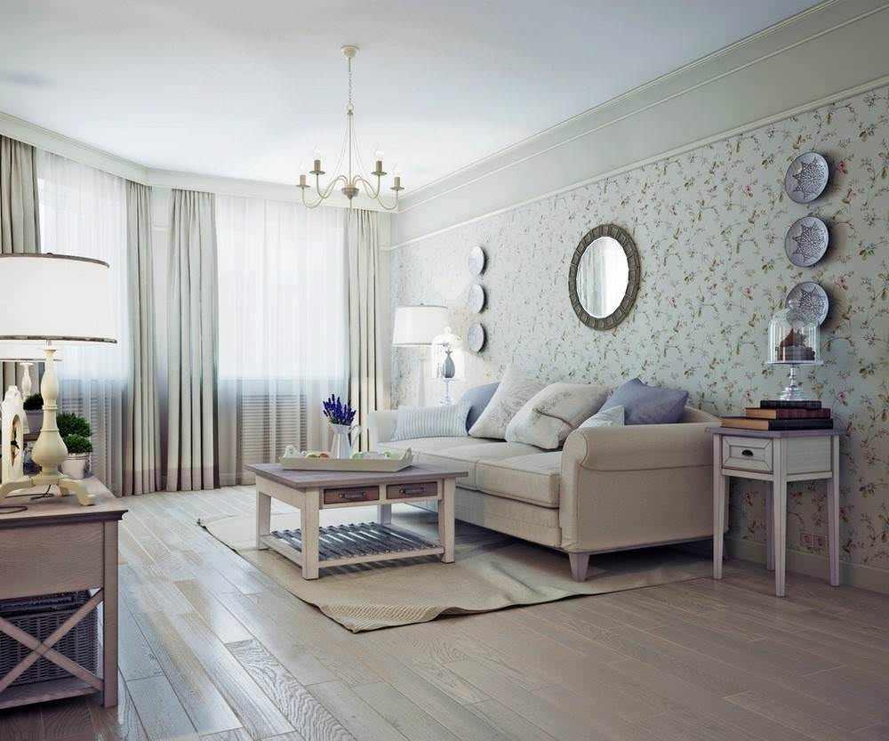 Пол из ламината в гостиной в стиле прованс