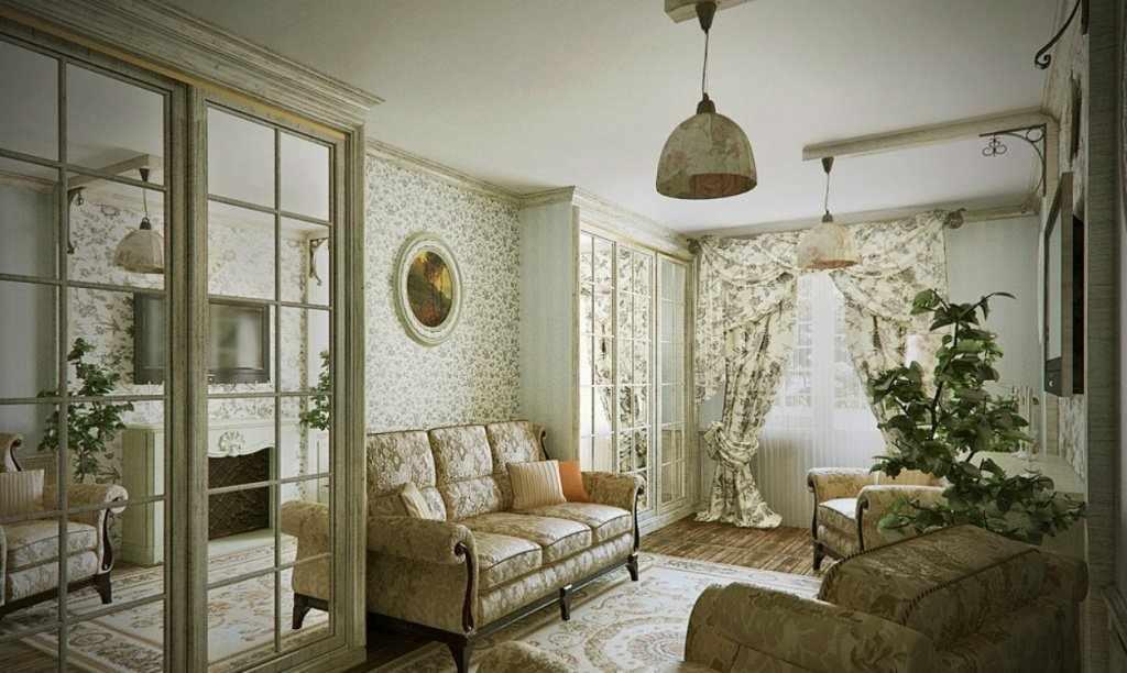 Белый потолок в гостиной в стиле прованс