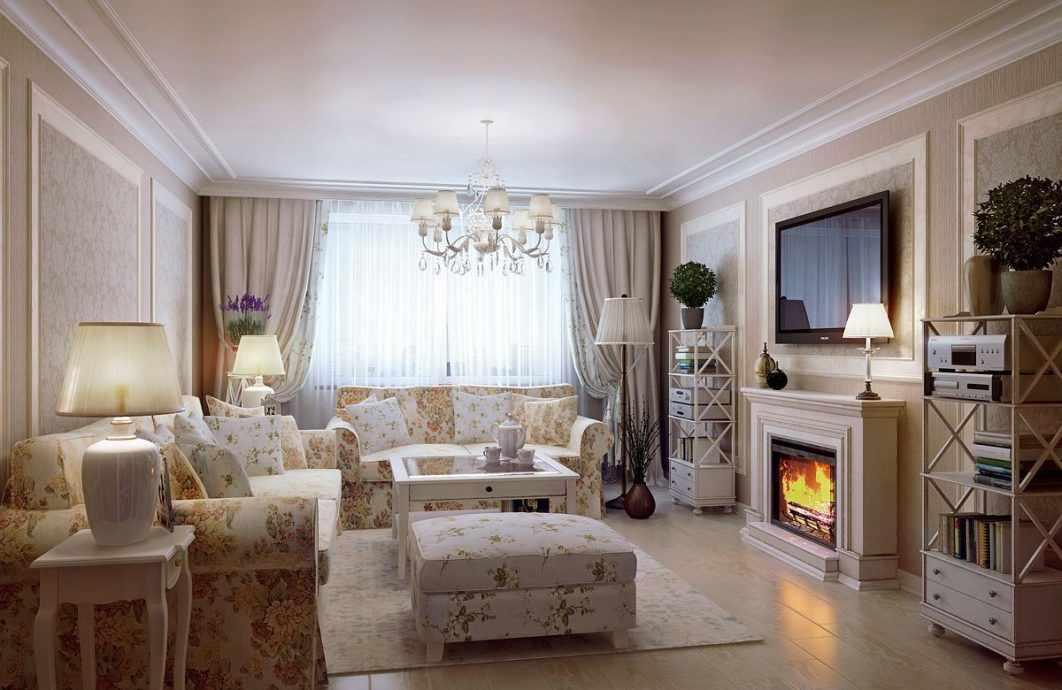 Гостиная в стиле прованс с камином в загородном доме