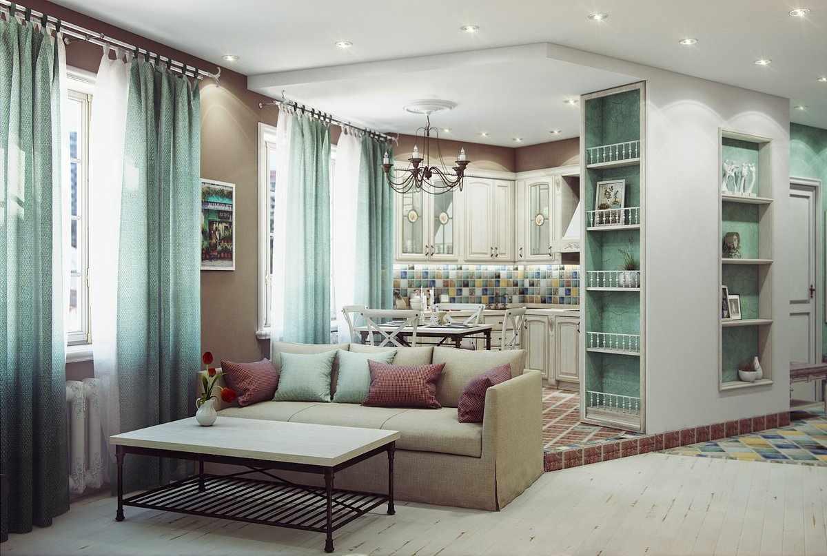 Кухня-гостиная в стиле прованс в квартире студии