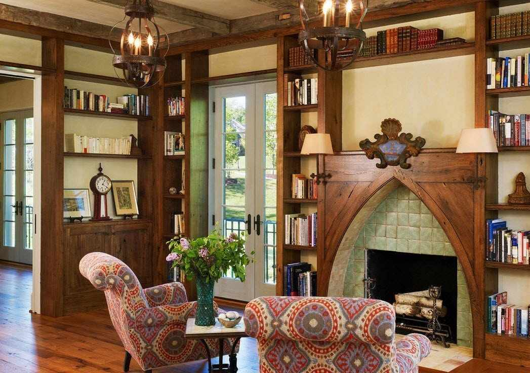 Натуральные материалы в интерьере в готическом стиле