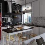 Бардовый холодильник на кухне