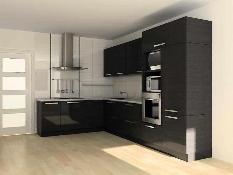 Холодильник встроенный в гарнитур в интерьере